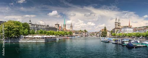 Fotografie, Obraz  Historic Zurich center with famous Grossmünster Church, Limmat river and Zürichsee, Switzerland