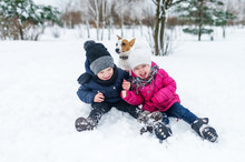 Children Playing With Jack Russell Terrier Puppy In The Park In The Winter In The Snow