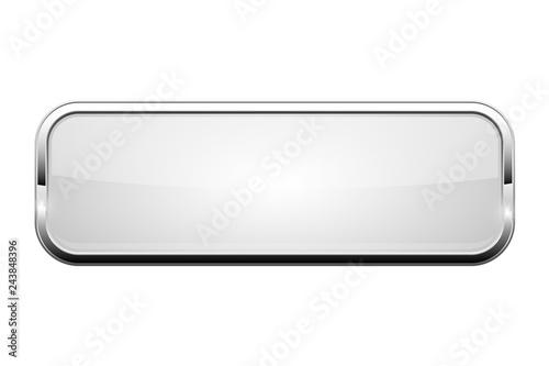 Fotografía  White glass button. Shiny rectangle 3d web icon