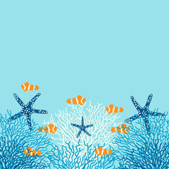 Panel Szklany Morze Sea life vector background with coral, fish and starfish on a blue background.
