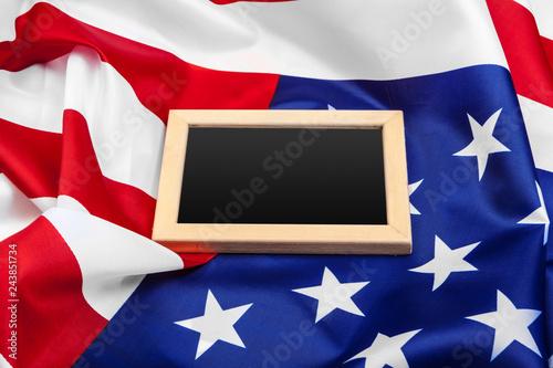Fotografía  Blank frame on American flag background