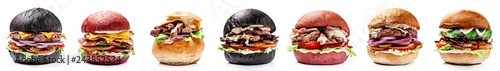 Fotografia American burgers from black, red bread