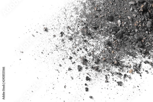 Tela Coal ash isolated on white background, top view