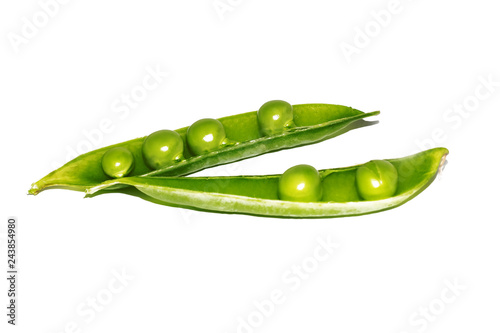 Fotografía  One green pea pod, isolate on white background