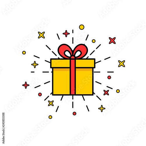 Obraz na plátne Set of gift box with ribbon
