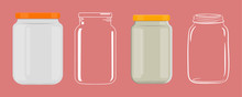 Empty Glass Jar Without Transp...