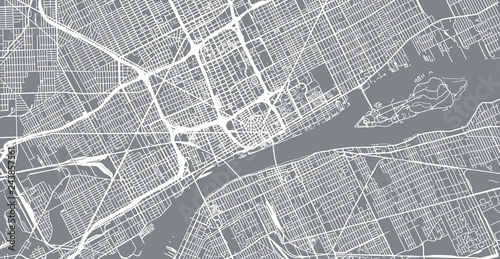 Urban vector city map of Detroit, Michigan, United States of ...