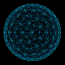 Structure Of Sphere With Network Connection Lines And Dots Isolated On Black Background In Futuristic Digital Computer Technology Concept, 3d Abstract Illustration