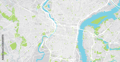 Photo Urban vector city map of Philadelphia, Pennsylvania, United States of America
