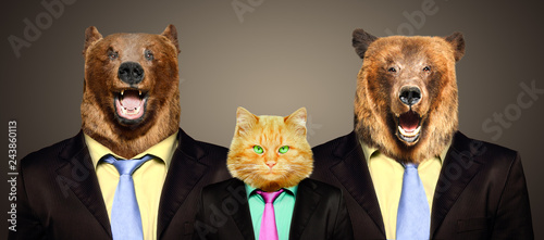 Fotografie, Obraz  Portrait of a cat  guarded by two bears in business suits