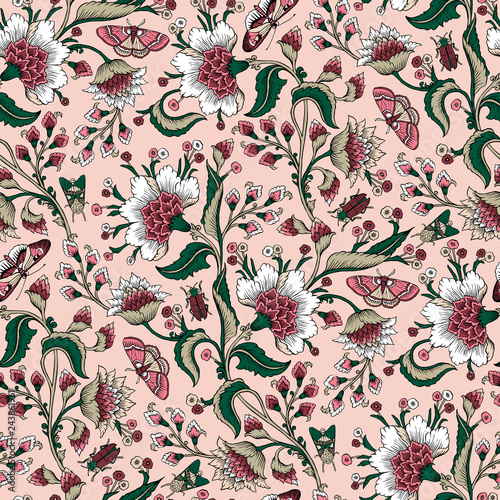 Obraz na plátně Seamless pattern with fantasy flowers, natural wallpaper, floral decoration curl illustration