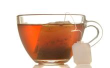 Glass Cup With Tea And Tea Bag...