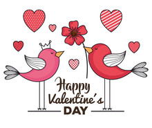 Valentines Day Card With Birds And Hearts
