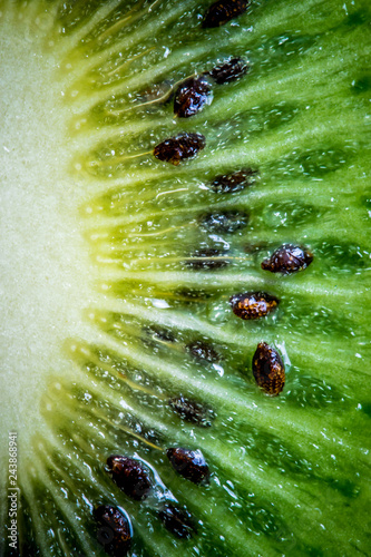 Ripe green kiwi. Fruit closeup