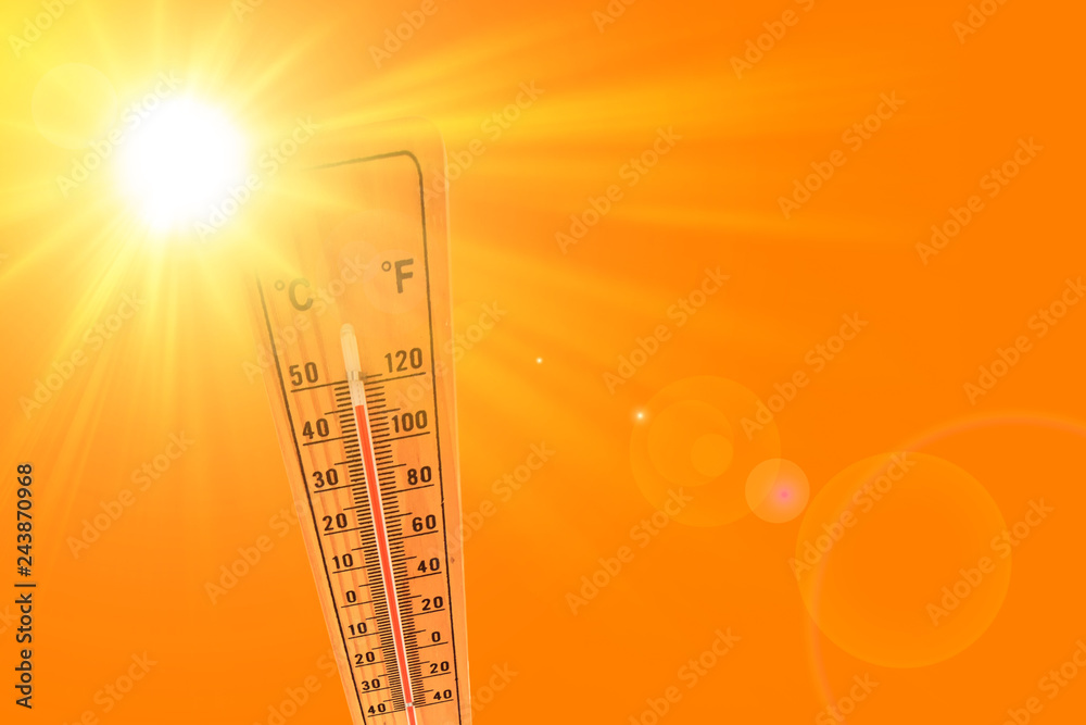 Fototapety, obrazy: illustration of orange and yellow color depicting the sun and an ambient thermometer
