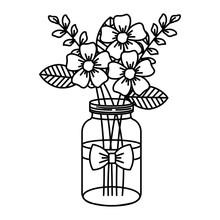 Mason Jar With Beautiful Flowers Decoration