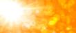 Leinwanddruck Bild - abstract orange background with sun and bokeh