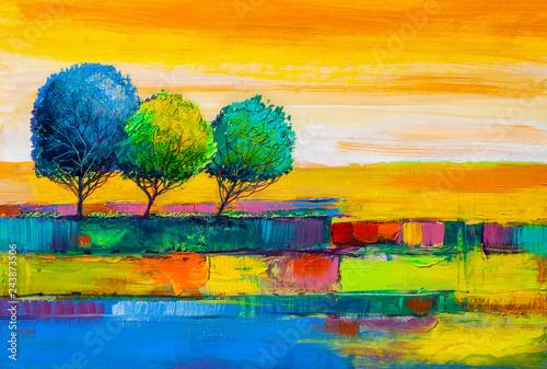 Montage in der Fensternische Melone Trees, oil painting, artistic background