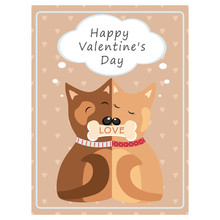 Valentine's Day Greeting Vintage Card. Hugging Dogs Vector Illustration