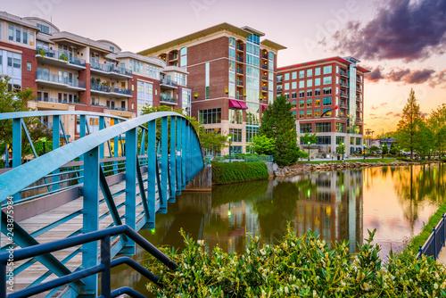 Fotografija Greenville, South Carolina, USA downtown cityscape on the Reedy River at dusk