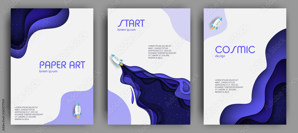 Fototapety, obrazy: Vertical banners set with 3D abstract background and paper cut shapes. Vector design layout for business presentations, flyers, posters and invitations. Paper cut style