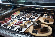 Sweet Dessert Snack And Cake For Sale In Cake Showcase Refrigerator For People Select And Buy At Bakery Shop And Cafe