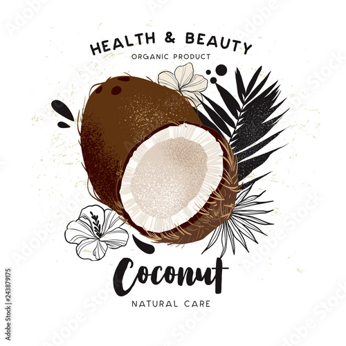 Coconut Oil Template Packaging Cosmetics Labels Banner Poster Branding Stylish Design With A Sketch Of Coconut Illustration Care Of Hair Skin Care Natural Oils Buy This Stock Vector And Explore Similar