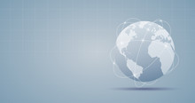 Widescreen Abstract Technology Background With Internet Connection Globe On Grey Color Background