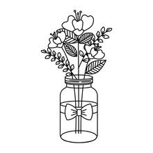 Mason Jar With Beautiful Flowe...