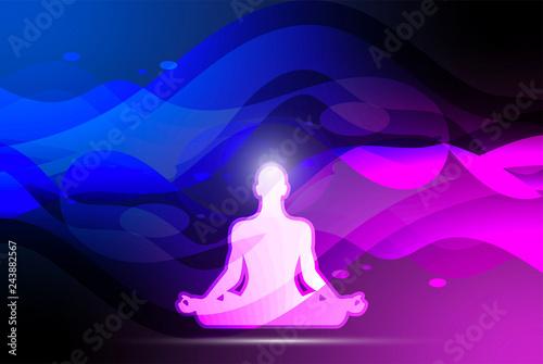 yoga, meditazione, posizione del loto, sagoma, Canvas Print