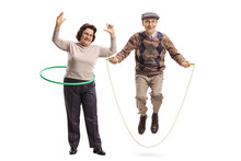 Elderly Woman With A Hula Hoop And A Senior Man Jumping With A Skipping Rope