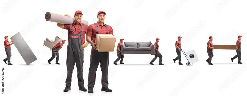 Fototapety, obrazy: Guys from a moving company carrying home appliences and furniture