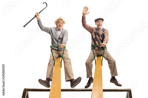 Funny seniors sitting on a seesaw