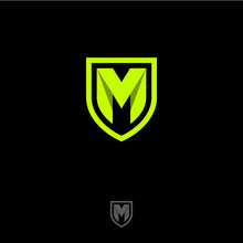 M Letter In A Shield. M Origami Monogram Consist Of Green Ribbon. Web, UI Icon, Isolated On A Dark Background.