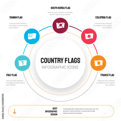Abstract infographics of country flags template  Italy flag