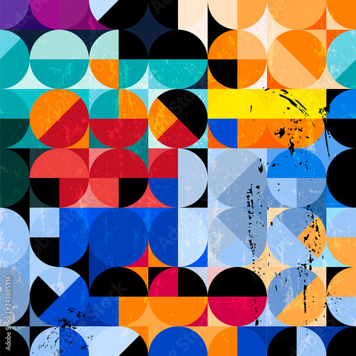 abstract seventies style geometric pattern, retro/vintage style, with circles, and grungy structure, vector
