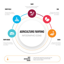 Abstract Infographics Of Agriculture Farming Template. Farm House, Farm Field, Farm, Egg, Duck Icons Can Be Used For Workflow Layout, Diagram, Business Step Options, Banner, Web Design.