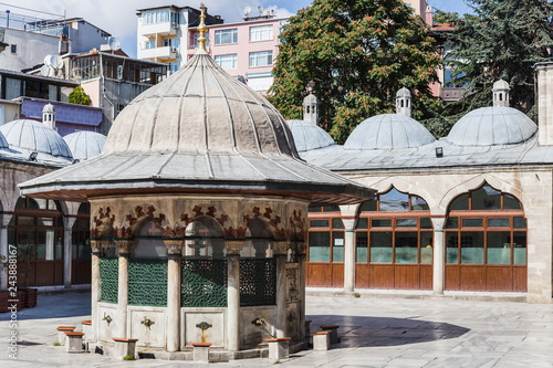 Washing (ablution) area in the inner court of a mosque in Istanbul, Turkey Canvas Print