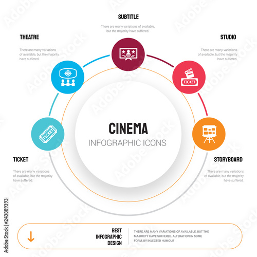 Abstract infographics of cinema template  Ticket, Theatre