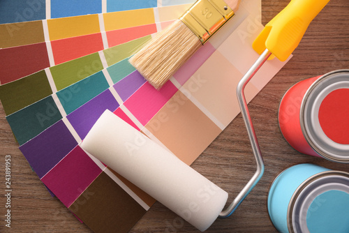 Surprising Colour Chart Pots Brush And Roller On Table Top Buy This Beutiful Home Inspiration Semekurdistantinfo