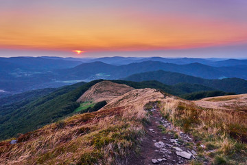 Sunset. Beautiful panoramic view of the Bieszczady mountains in the early autumn, Bieszczady National Park (Polish: Bieszczadzki Park Narodowy), Poland.
