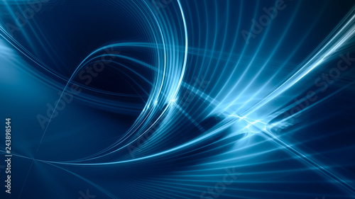 Fotobehang Abstract wave Abstract blue background element on black. Fractal graphics. Three-dimensional composition of glowing lines and mption blur traces. Movement and innovation concept.