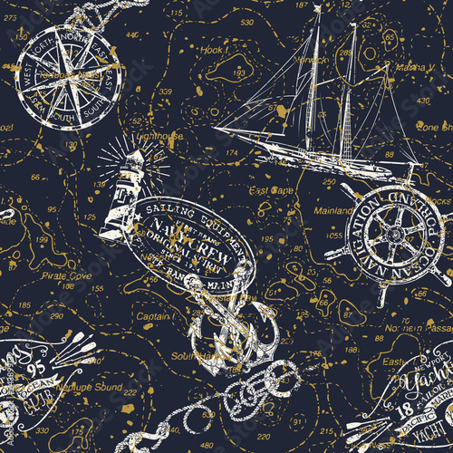 Fototapeta Grunge vintage nautical chart  with marine badges and elements vector seamless pattern obraz