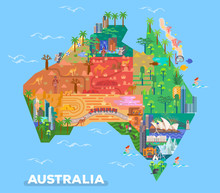 Map Of Australia With Landmarks Of Architecture