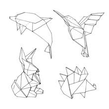 Set Of Origami Animal Shape Geometric Illustration. Hand Drawn Set Of 4 Origami Figures  Isolated On White Background.