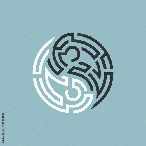 Valokuvatapetti concept of path of balance, shape of yin yang symbol combined with maze