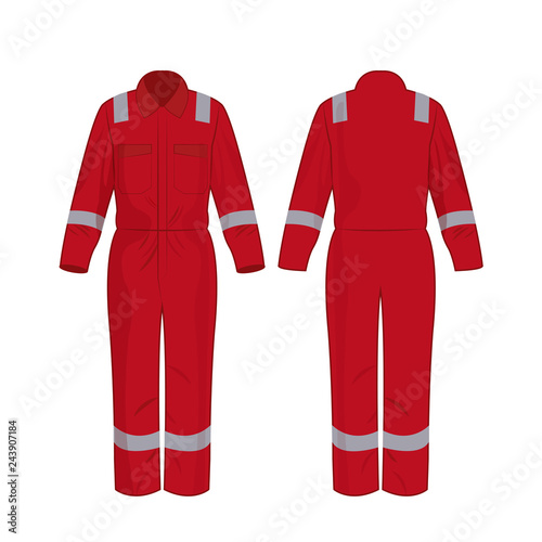 Red work overalls with safety band isolated vector on the white background Wall mural