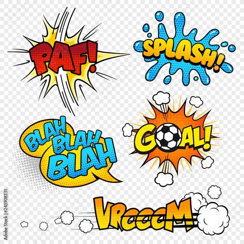 Printed kitchen splashbacks Fairytale World Cartoon Vector Comic Sound effects set3
