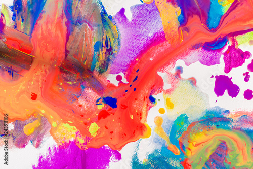 Fototapety, obrazy: Fragment of artwork or art colorful background of acrylic water color