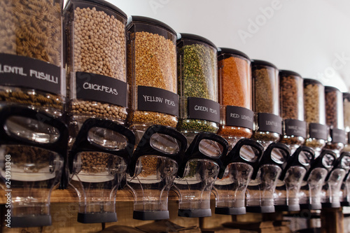 Fotografie, Obraz  Raw food containers in zero waste shop.